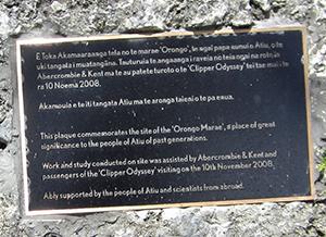 Memorial plaque, Marae Orongo i Tai - atiu