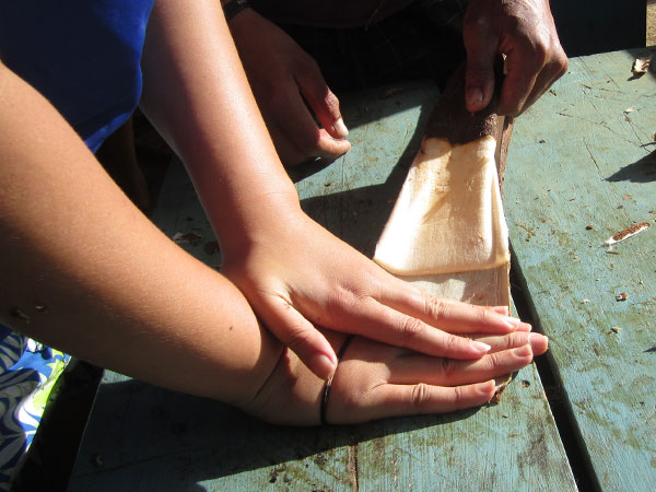 Helping to peel off bark